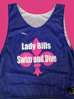 Lady Bills Swim and Dive pinnies.  Design and order your teams swim pinnies for practice and meets.  Made in the USA.