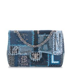 CHANEL Denim Tweed Patchwork Jumbo Single Flap Blue 8ccba0a87435a