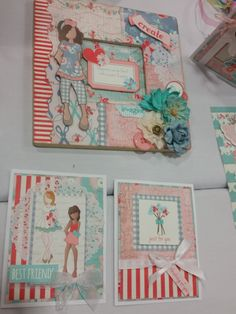 Julie Nutting Paper Dolls collection in these cards and frame. Simple Pleasures Rubber Stamps and Scrapbooking.
