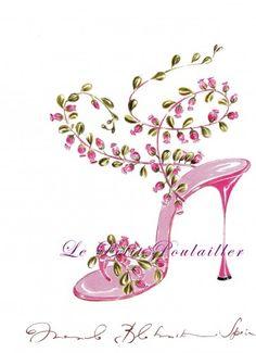 Manolo Blahnik Shoe Fashion Lithograph ... in my shop now!