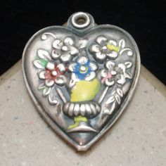 Puffy Heart Charm Vintage Sterling Silver Enamel Vase of Flowers Engraved Jerry