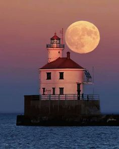 Big Lake, Point Light, Stormy Sea, Beacon Of Light, Ponds Backyard, Super Moon, Beautiful Moon, North Shore, Great Lakes
