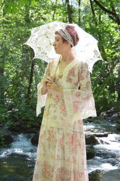 Vintage 1970's Pink Floral Prairie Dress - Angel Sleeve Maxi Empire waist  Dress - Boho Festival Dress - ladies size small to small medium