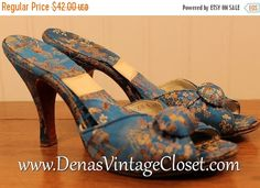 60% OFF Mothers Day Sale Vintage 70s Blue Oriental Peep Toe Heels Shoes sz 6 1/2 N