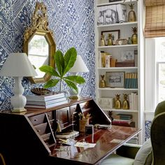 Heather Chadduck Interiors David Hillegas Birmingham Alabama 2019 Southern Living Idea House Beautiful Flower magazine blue and white traditional style Southern Living Homes, Southern Cottage, Hand Painted Wallpaper, Old Farm Houses, White Houses, Textile Design, Beautiful Homes, House Beautiful, Beautiful Interiors