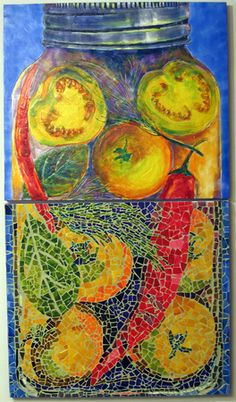 Baba's Canning by alana kapell, mosaic and encaustic