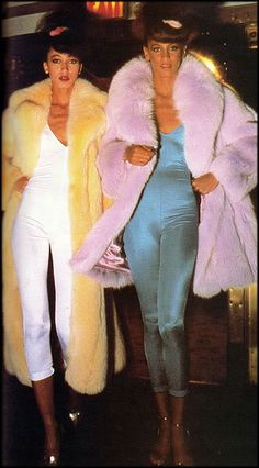 DISCO HOTNESS - 70s Vintage jumpsuit spandex studio 54 fashion blue white yellow pink jacket faux fur color photo print ad model