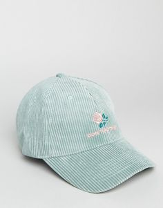 ed7330be14882 ASOS Baseball Cap In Green Cord With Rose Embroidery Rose Embroidery