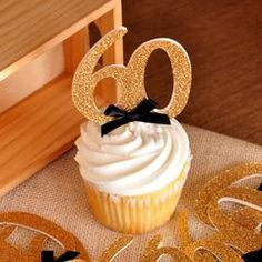"""60th Birthday Party Ideas. Ships in 1-3 Business Days. Glitter Gold Number """"60"""" Cupcake Toppers 12CT. - Black (shown)"""