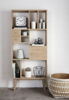 Beautiful bookcase in oak with 9 compartments and 4 drawers from HübschDimensions: 80 x b d h 25 x 180 cm. Bookshelves, Bookcase, Tall Shelves, Home And Deco, Scandinavian Interior, Furniture Inspiration, Home Living Room, Shelving, Furniture Design