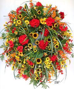 Geranium Wreath Summer Wreath Spider Plant Wreath Sunflower