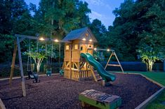 Illuminated playgrounds in backyard. I don't have kids, but that is so smart. Especially in the fall/winter when it get dark earlier or whenever there are family gatherings. When all the adults are inside talking about boring stuff the kids can still play.