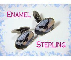 SCANDINAVIAN - Denmark - EAGLE Flying Over Water Scene Guilloche Enamel - Sterling Silver Cuff Links Cufflinks - FREE SHIPPING $215  www.FindMeTreasure.com