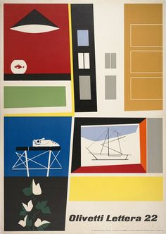 Giovanni Pintori - Olivetti Lettera 22 Poster / ninonbooks on vi. Vintage Advertising Posters, Vintage Advertisements, Vintage Ads, Vintage Posters, Advertising Design, Vintage Graphic Design, Graphic Design Typography, Graphic Design Illustration, Graphic Art