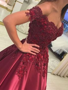 Custom Made Off Shoulder Lace Prom Gown, Burgundy/Green Lace Prom Dresses, Formal Dresses #promdress #promdresses #burgundypromdress #offshoulderpromdress #dressesforprom #promdress2018 #burgundyformaldress #formaldresses #lacepromdress #wineredpromdress