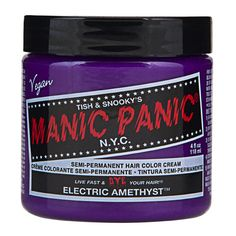 Semi-Permanent hair colour made with superior herbal and plant extract ingredients that conditions while it colours. Packaged in a 118ml (4 oz) tub - ELECTRIC AMETHYST is new colour