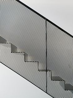 Metal mesh + geometrical shapes, structured on grid - Villa Öjersjö: A Contemporary Black Wooden House by Bornstein Lyckefors arkitekter Stair Handrail, Staircase Railings, Stairways, Staircase Metal, Metal Handrails, Steel Balustrade, Wood Railing, Railing Ideas, Spiral Staircases