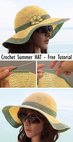 Prepare for summer and learn how to crochet this beautiful hat. Prepare for summer and learn how to crochet this beautiful hat. Crochet Crafts, Free Crochet, Knit Crochet, Diy Crafts, Crochet Designs, Crochet Patterns, Skirt Patterns, Coat Patterns, Blouse Patterns