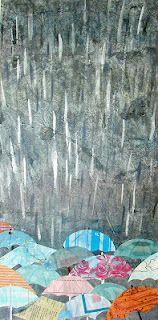 Collaged umbrellas in the rain.  Illustrator Sarah Coyne