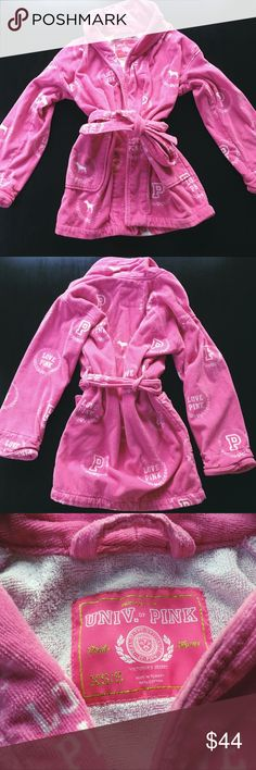 PINK Bathrobe size XS/S Bought this from another Posher but just don't think I'll get much use of it :( my loss is your gain!! I've never personally worn it but the seller said only two to three times worn. It's 100% cotton and comes from a smoke-free home :) SO CUTE PINK Victoria's Secret Intimates & Sleepwear Robes