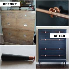 Dresser with DIY Copper Pipe Drawer Pulls-upcycledtreasures - Uses bell pull hangers?