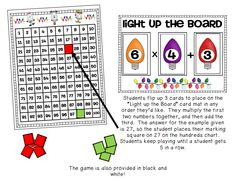 """Light Up the Board""  - a math game freebie for adding and multiplying!  ***BE SURE TO SCROLL DOWN TO THE ""CHRISTMAS"" CATEGORY TO SNAG THIS FREE GAME!***"