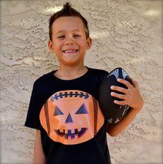 Boys Sports Fanatic Football Halloween Pumpkin Shirt! by PaisleesandPigtails on Etsy https://www.etsy.com/listing/207299683/boys-sports-fanatic-football-halloween