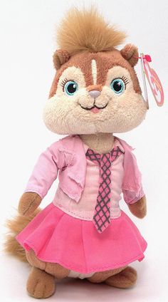 Brittany, Ty Beanie Baby chipmunk from the movie Alvin and the Chipmunks, The Squeakquel, reference information and photograph. Beanie Boos, Beanie Babies, Plush Dolls, Doll Toys, Baby Chipmunk, The Chipettes, Pinturas Disney, Alvin And The Chipmunks, Childhood Movies