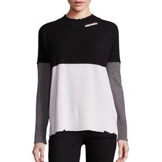 RtA Women's Justine Colorblock Pullover ($495) ❤ liked on Polyvore featuring tops, sweaters, apparel & accessories, color block sweaters, sweater pullover, cashmere crew neck sweater, crew sweater and long sleeve pullover sweater