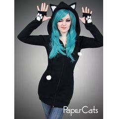 Black Cat Hoodie Long Ears Animal Kitty