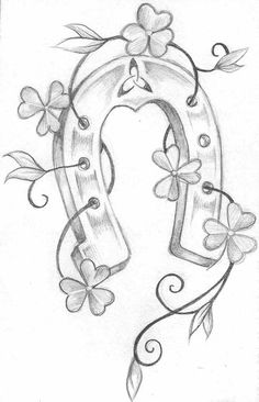 Top Horseshoe Drawing Derby Images for . Horse Shoe Drawing, Horse Drawings, Horse Art, Easy Drawings, Tattoo Drawings, Pencil Drawings, Coloring Books, Coloring Pages, Clover Tattoos