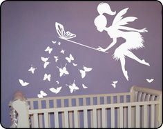 Butterfly Fairy with butterfly Wand Vinyl Wall by WallCrafters
