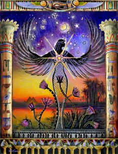 Mari is the basic name of the goddess found throughout the Mediterranean region, and Isis-Mari is her Egyptian name. Like Mary of the Christian tradition, she is a vast cosmic sky goddess as well as an earth mother goddess. In the Egyptian tradition, she Isis Goddess, Mother Goddess, Goddess Art, Egyptian Mythology, Egyptian Art, Egyptian Goddess Names, Sacred Feminine, Divine Feminine, Art Visionnaire