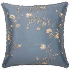 "Bring country-chic style to your home with this charming design from Jennifer Taylor, artfully crafted for lasting appeal.   Product: PillowConstruction Material: PolyesterColor: BlueFeatures:  Zippered closureInsert included Dimensions: 17"" x 17"" Cleaning and Care: Spot or dry clean only"