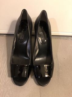 50950d72f7 BANANA REPUBLIC Size 10 Black Patent Leather Wedges With Peep Toe #fashion  #clothing #