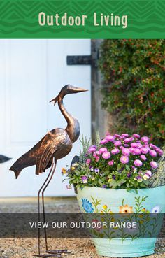 For your first sneak peek, here's a delightful metal heron and tyre planter. Plant your flowers, herbs, or even small-scale vegetables in the planted and the heron will watch out for them! Large Garden Planters, Vegetable Planters, Tire Planters, Planter Pots, Outdoor Range, Tyres Recycle, Flower Pots, Flowers, Fair Trade