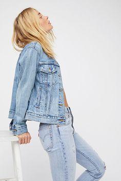 Levi's Ex-Boyfriend Trucker Denim Jacket at Free People, Blue, XS Amo Jeans, Estilo Jeans, Levi Denim Jacket, Denim Overalls, Denim On Denim, Blue Denim, Blue Jeans, Double Denim, Denim Fashion
