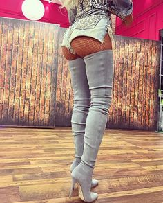 Grey Suede Thigh High Boots Stiletto High Heels 2017 New Slim Stretch Fall Boots Over The Knee Boots Pointed Toe Shoes Woman Thigh High Boots, High Heel Boots, Over The Knee Boots, Heeled Boots, High Heels, Black Heels, Botas Sexy, Jean Sexy, Crotch Boots