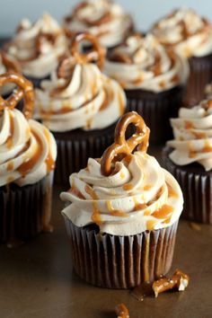 A chocolate cupcake with salted caramel frosting and pretzels make a fun salty sweet treat.