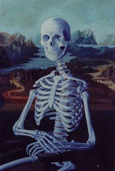 Mona Lisa as a skeleton BW [Jules Kmetzko] (Gioconda / Mona Lisa) Memento Mori, Spooky Scary, Creepy, Lisa Gherardini, Caricature, La Madone, Mona Lisa Parody, Italian Artist, Skull And Bones