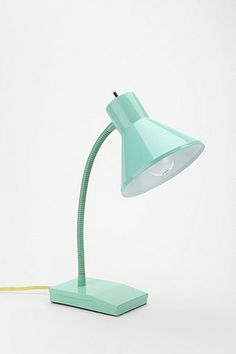 mint metal retro-inspired lamp - maybe I can paint the morning black one I have
