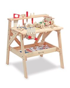 Melissa Doug Wooden Project Workbench - - Keep your little builder busy with the sturdy Wooden Project Workbench from Melissa and Doug. This dramatic play wooden workbench is the perfect size--ri Woodworking For Kids, Woodworking Crafts, Woodworking Tools, Woodworking Workshop, Woodworking Square, Woodworking Magazine, Popular Woodworking, Woodworking Furniture, Melissa & Doug