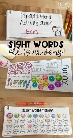 Sight Word Activity Strips allow students to independently practice sight words all year long. All 220 Dolch Sight Words are included. Easy to differentiate and students see their success! Sight Word Spelling, Sight Word Centers, Sight Words List, Dolch Sight Words, Sight Word Games, Kindergarten Classroom, Kindergarten Activities, Classroom Ideas, Reading Activities