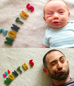 I think this is a great photo idea for baby and papa.