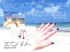 Zoya Social Media Fairy enjoys a beachy vacation and lots of beautiful Zoya color. Shown here Zoya PixieDust in Liberty and Zoya Kara.