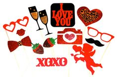 Sexy Valentine's Day Props with GLITTER - 14 piece set - Great Photobooth Props - Valentines Day Photo Booth Props - on Etsy, $42.00
