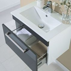Give your bathroom an update with the Milano gloss grey wall mounted vanity unit