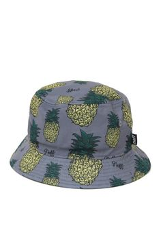 Neff offers a slice of the sweet life with this bucket hat found at PacSun. The Pineapple Bucket Hat offers a two tone print allover with Neff scripts mixed in.    Allover pineapple print hat    Neff logos throughout    One size fit most    Spot clean    100% polyester    Imported