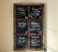 Oh... I bet I could do this my self... just find a empty frame...(hobby lobby or thrift store maybe?) and either a chalkboard or even better just some chalkboard paint... (which even walmart has... or last i checked!!)