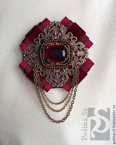Brooches Handmade, Handmade Jewelry, Unique Jewelry, Ribbon Crafts, Ribbon Bows, Ribbons, Jewelry Crafts, Jewelry Art, Bow Scarf